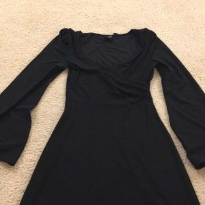 Little Black Wrap Dress with Bell Sleeves